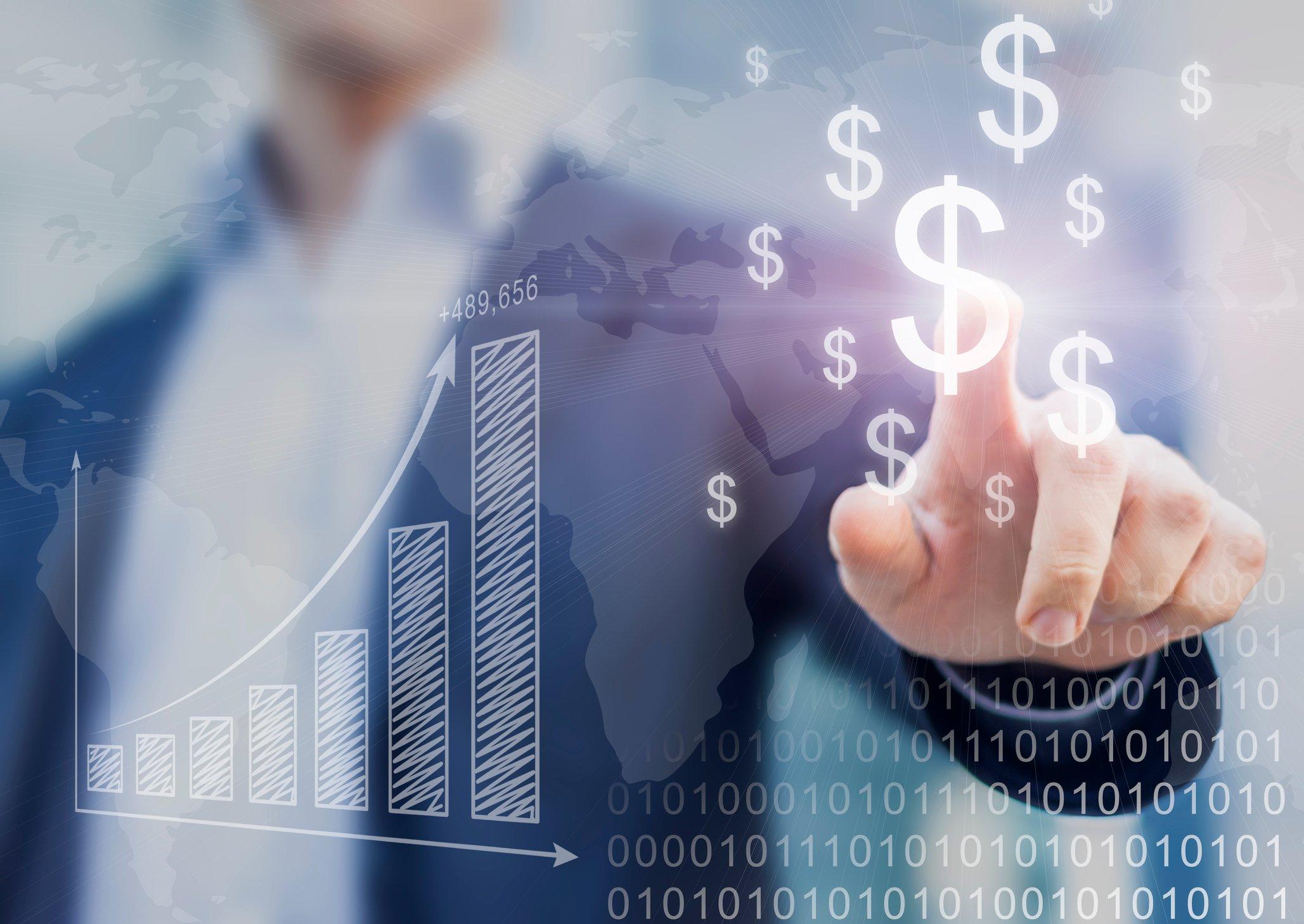 Business man touching digital dollar signs