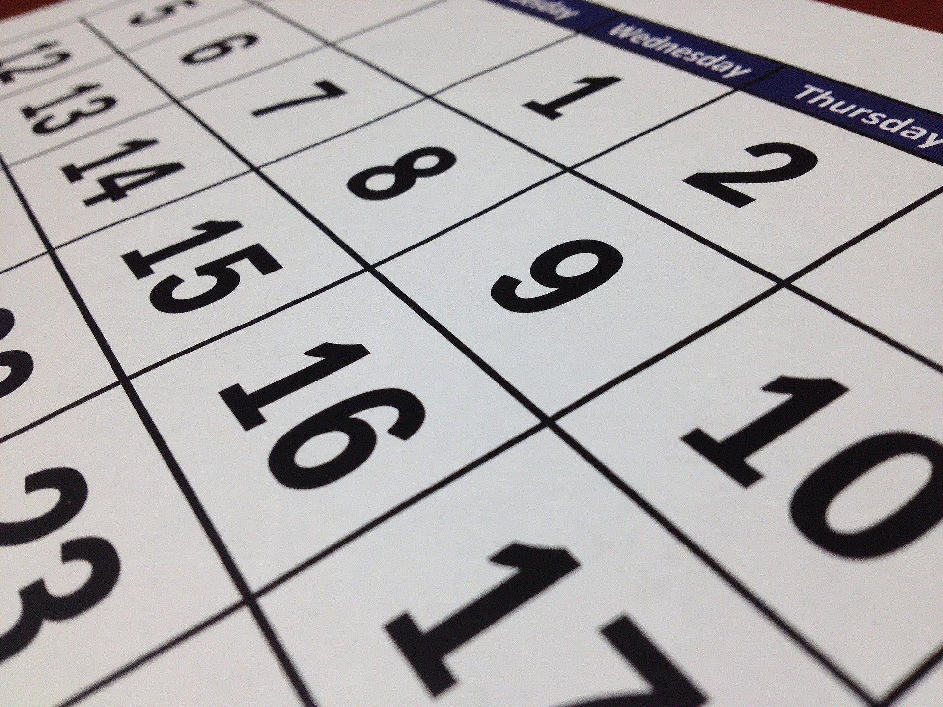 A close up of a monthly calendar.
